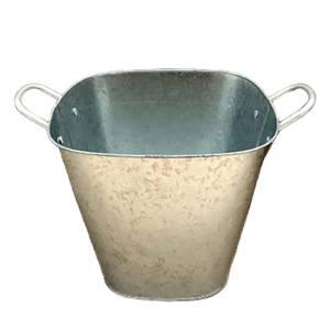 Square Pot Galvanised - 25cm