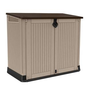 Keter Store It Out Midi Outdoor Plastic Garden Storage Box - 880L - Beige / Brown