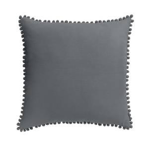 Country Living Linen Pom Pom Cushion - 50x50cm - Dark Grey