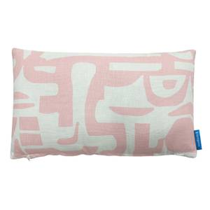 House Beautiful Geo Printed Linen Cushion - 30x50cm - Blossom