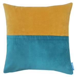 House Beautiful Velvet Panel Cushion - 48x48cm - Teal & Mustard