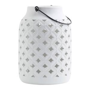 Tall Ceramic Lantern Off White