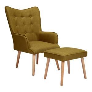 Leon Chair & Footstool - Moss Green