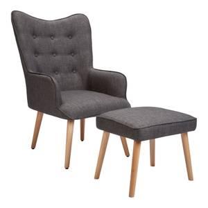 Leon Chair & Footstool - Grey