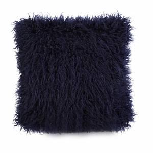 Navy Faux Mongolian Fur Cushion