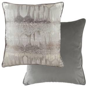 Metallic Piped Printed Cushion - Steel