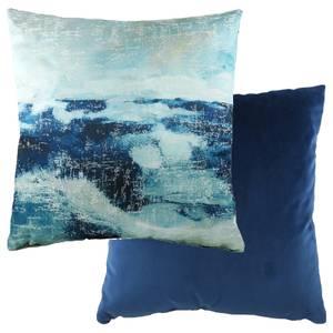 Watercolour Landscape Cushion - Royal Blue