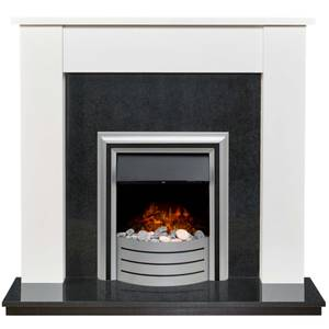Adam Buxton in White & Granite with Lynx 3-in-1 Electric Fire
