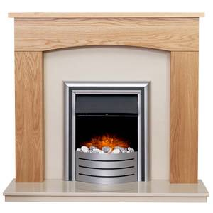 Adam Bretton in Oak & Beige Marble with Lynx 3-in-1 Electric Fire
