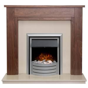 Adam Sudbury in Walnut & Beige Marble with Downlights & Lynx 3-in-1 Electric Fire