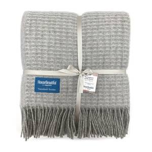 House Beautiful Wool Waffle Throw - 150x183cm - Grey