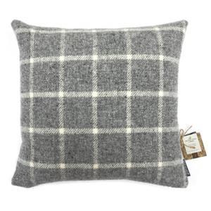 Country Living Wool Check Cushion - 50x50cm - Grey