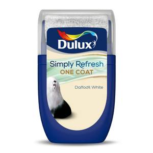 Dulux Simply Refresh One Coat Tester Paint - Daffodil White - 30ML