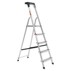 Rhino Lightweight Aluminium Platform Step Ladder with Tool Tray - 5 Tread