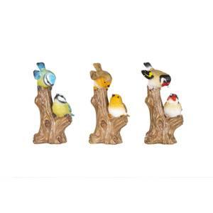 Resin Robin, Bluetit & GoldFinch on Stump Garden Ornament