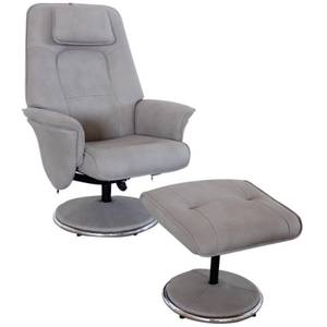 Rex Recliner Chair and Footstool - Grey