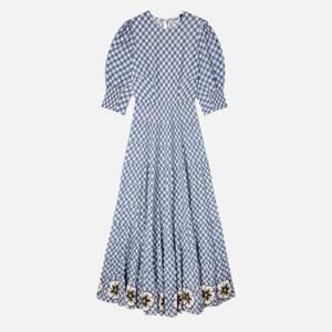 RIXO Women's Kristen Dress - Big Gingham - Navy