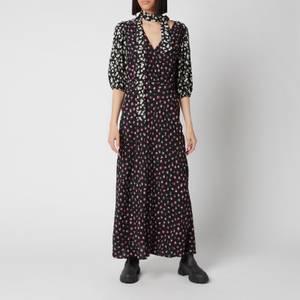 RIXO Women's Annika Dress - Mono Daisy Black Pink Mix