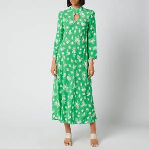 RIXO Women's Sophia Midi Dresses - Posey Bunch Floral Green Ivory