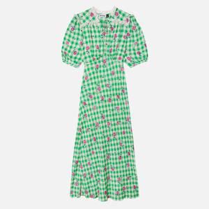 RIXO Women's Gwen Midi Dresses - Gingham Rose - Green Pink