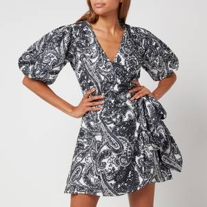 Faithfull The Brand Women's Godiva Wrap Dress - Faye Paisley Print Charcoal