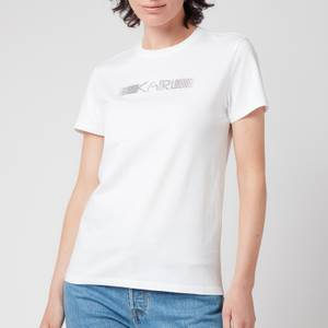 KARL LAGERFELD Women's Rhinestone Logo T-Shirt - White