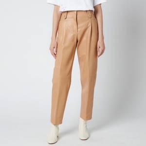 Coach Women's Leather Trousers - Light Beige