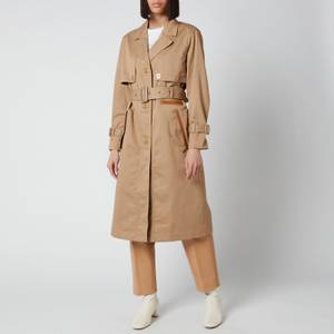 Coach Women's Cotton Trench with Leather Trim - Beige