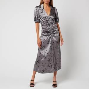 Ganni Women's Silk Stretch Satin Dress - Sharkskin