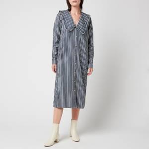 Ganni Women's Mixed Stripe Denim Loose Fit Shirt Dress - Dark Indigo