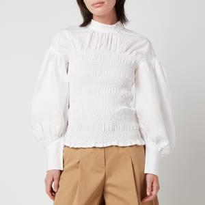 Ganni Women's Cotton Poplin Smock Blouse - White