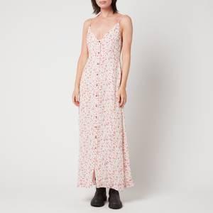 Ganni Women's Printed Georgette Strap Dress - Egret