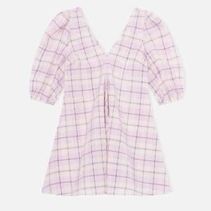 Ganni Women's V Neck Dress - Seersucker Check