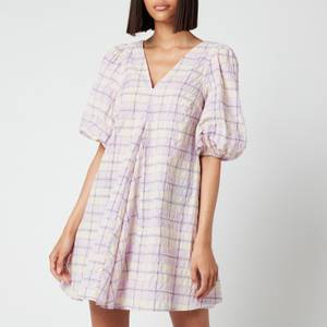 Ganni Women's V Neck Dress - Seersucker Check