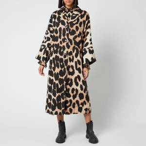 Ganni Women's Linen Canvas Coat - Maxi Leopard