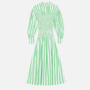Ganni Women's Smock Stripe Cotton Dress - Kelly Green