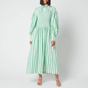 Ganni Women's Smock Stripe Cotton Dress - Kelly Green