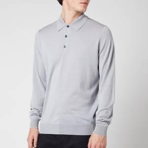 John Smedley Men's Cbelpar Long Sleeve Polo Shirt - Pebble Grey