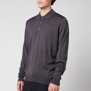 John Smedley Men's Cbelpar Long Sleeve Polo Shirt - Anthracite