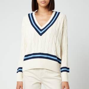 Polo Ralph Lauren Women's Crewneck Classic Sweatshirt - Cream/Navy Stripes