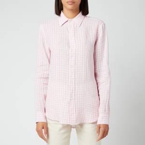 Polo Ralph Lauren Women's Gingham Linen Shirt - 918 Garden Pink/White