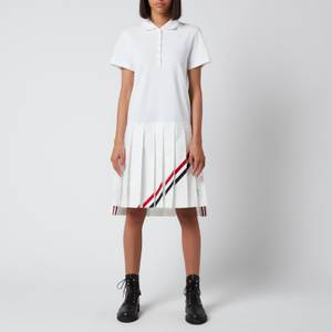 Thom Browne Women's Short Sleeve Pleated Bottom Polo Dress with Diagonal Stripe In Classic Pique - White