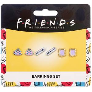 Friends Set of 3 Earring Studs - Frame, Coffee Cup & Friends Logo