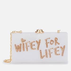 Sophia Webster Women's Cleo Wifey For Lifey Clutch Bag - White & Gold
