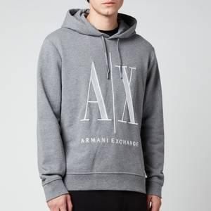 Armani Exchange Men's Large Ax Logo Hoodie - Grey Melange