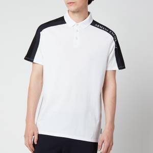 Armani Exchange Men's Sleeve Detail Polo Shirt - White/Black/Navy