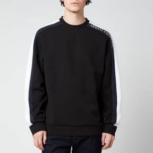 Armani Exchange Men's Tape Logo Sweatshirt - Black/White/Navy