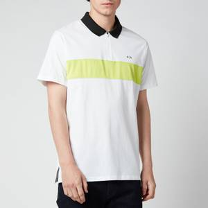 Armani Exchange Men's Neon Stripe Polo Shirt - White/Acid Lime