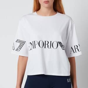 Emporio Armani EA7 Women's Train Shiny Crop T-Shirt - White/Black