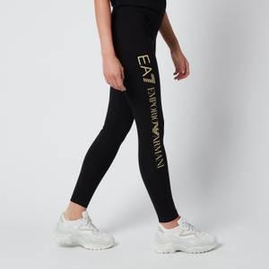 Emporio Armani EA7 Women's Train Shiny Leggings - Black/Light Gold